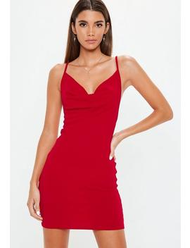 Red Cowl Neck Bodycon Dress by Missguided