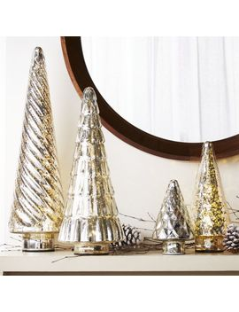 Antiqued Glass Silver Trees, Set Of 4 by Crate&Barrel