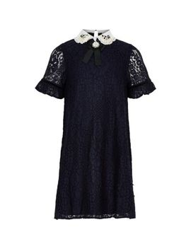 Girls Navy Lace Embellished Collar Dress by River Island