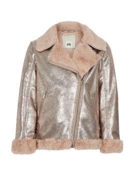 Girls Gold Metallic Faux Fur Aviator Jacket by River Island