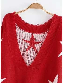 Rib Trim Star Pattern Sweater by Sheinside