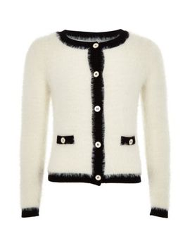 Girls Cream Fluffy Button Through Cardigan by River Island