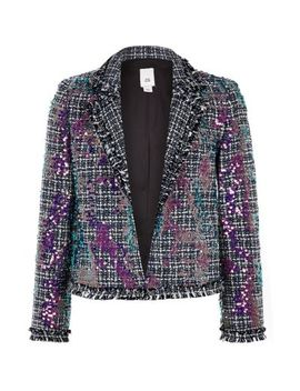 Girls Blue Boucle Sequin Blazer by River Island