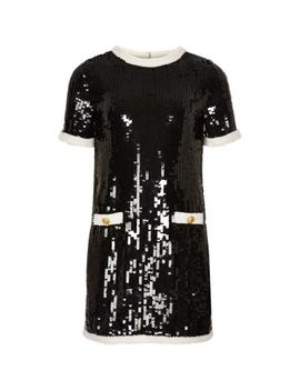 Girls Black Sequin Embellished Dress by River Island