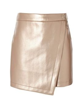 Girls Pink Metallic Vinyl Skort by River Island