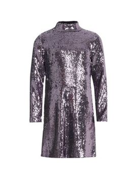 Girls Purple Sequin High Neck Dress by River Island