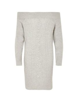 Girls Grey Knit Pearl Bardot Jumper Dress by River Island