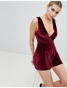Fashionkilla Plunge Front Playsuit In Berry Velvet by Fashionkilla