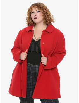 Red Button Retro Coat Plus Size by Hot Topic