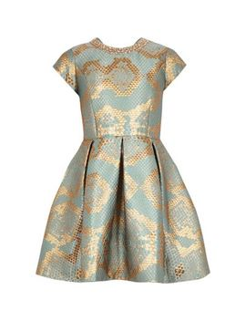 Girls Gold Snake Print Jacquard Prom Dress by River Island