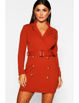 Button Front Belted Blazer Bodycon Dress by Boohoo