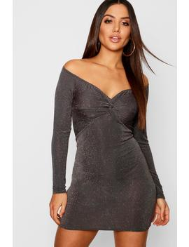 Glitter Knot Front Bardot Mini Dress by Boohoo