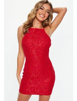 Red Lace Square Neck Bodycon Dress by Missguided