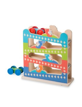 Melissa & Doug First Play Roll & Ring Ramp Tower With 2 Wooden Cars by Melissa & Doug