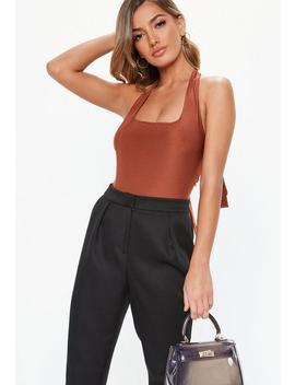 Rust Slinky Strappy Bodysuit by Missguided