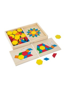 Melissa & Doug® Pattern Blocks And Boards   Classic Toy With 120 Solid Wood Shapes And 5 Double Sided Panels by Melissa & Doug