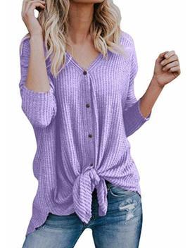 Womens Waffle Knit Henley Shirt Tie Knot Tunic Blouse Long Sleeve Tops by Kay+Sinn