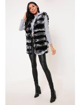 Grey & Black Striped Faux Fur Gilet by I Saw It First