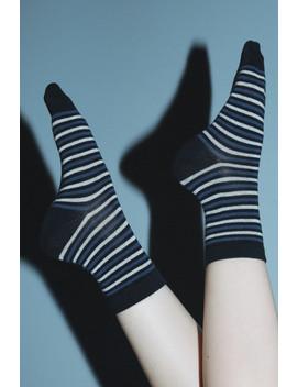 Blue White And Black Striped Socks by Brandy Melville