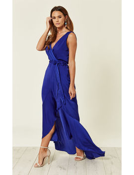 Wrap Front Maxi Dress Blue by Flounce London