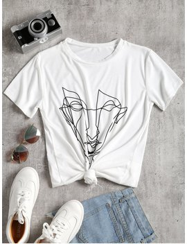 Face Print Round Collar Tee   White M by Zaful