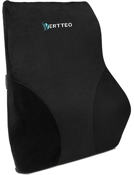 Vertteo Full Lumbar Black Support Premium Entire High Back Pillow Office Desk Chair Car Seat   Ergonomic Comfortable Memory Foam Cushion Relieves Couch Sofa Reading Lower Sciatica Pain by Vertteo