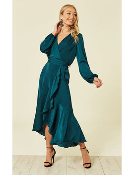 Wrap Front Midi Dress Teal by Flounce London