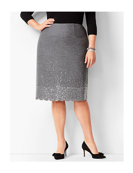 Scallop Hem Sequined Pencil Skirt by Talbots