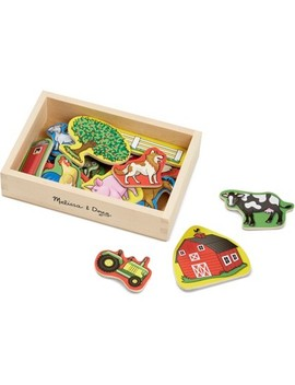 Melissa & Doug Wooden Farm Magnets With Wooden Tray   20pc by Melissa & Doug