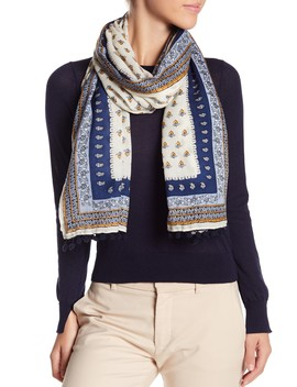 Mixed Paisley Tassel Trim Scarf by Tory Burch