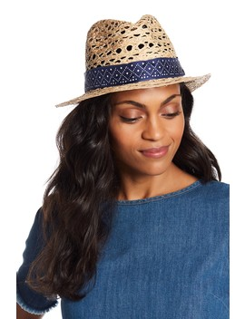 Perforated Silk Band Fedora by Tory Burch