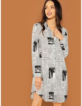 Newspaper Print Shirt Dress by Shein