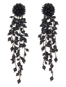 Flower Chain Shoulder Duster Clip Earrings by Oscar De La Renta