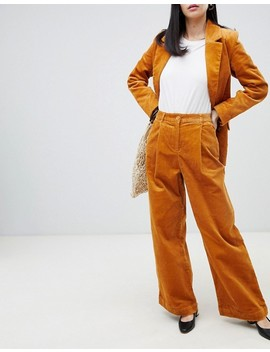 Monki Two Piece Wide Leg Cord Pants In Mustard by Monki