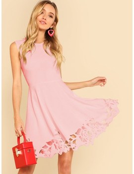 Laser Cut Fit And Flare Dress by Shein