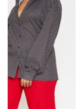 Plus Black Polka Dot Oversized Shirt  by Prettylittlething