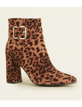 Tan Leopard Print Buckle Side Flared Heel Boots by New Look