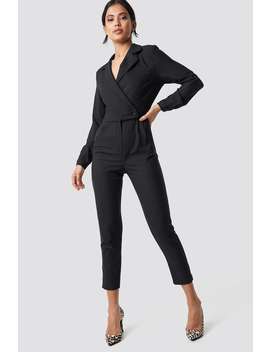 Waist Button Jumpsuit Black by Na Kd