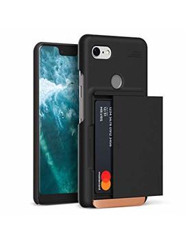 Google Pixel 3 Xl Case, Vrs Design [Matte Black] Semi Automatic Sliding Wallet Phone Case Damda Glide D.Wallet [U.S Patent No. 9,661,116 B1] by V Vrs Design