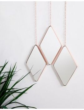 Umbra Pack Of 3 Rose Gold Diamond Mirrors by Umbra