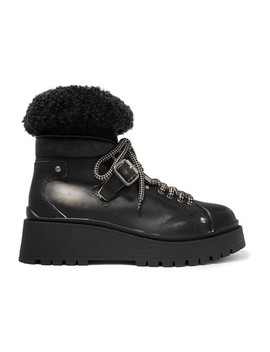 Shearling Trimmed Leather Ankle Boots by Miu Miu
