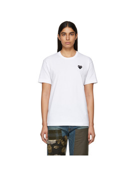 White & Black Men's Fit Heart Patch T Shirt by Comme Des GarÇons Play
