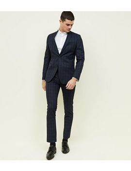 Navy Check Slim Fit Trousers by New Look
