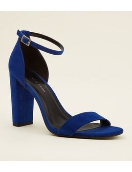 Wide Fit Bright Blue Suedette Ankle Strap Block Heels by New Look