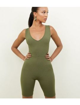 Khaki Ribbed Cycling Unitard Playsuit by New Look