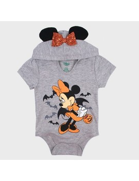 Baby Girls' Mickey Mouse & Friends Minnie Mouse Short Sleeve Hooded Bodysuit   Gray by Mickey Mouse & Friends