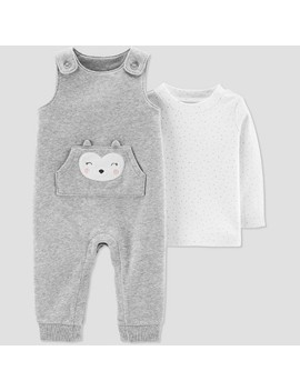 Baby Girls' 2pc Owl Fleece Overall Set   Just One You® Made By Carter's Gray by Just One You Made By Carter's
