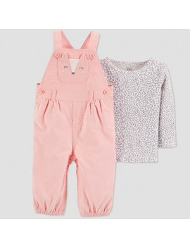 Baby Girls' 2pc Fox Overall Set   Just One You® Made By Carter's Peach by Just One You Made By Carter's
