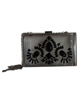 Steve Madden Bsquaree Clear Clutch With Black Design New by Steve Madden
