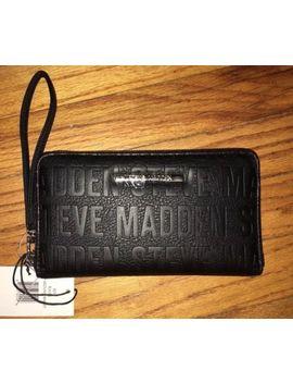 Nwt Steve Madden Black Silver Zip Around Logo Wallet Card Case Wristlet $48.00 by Steve Madden
